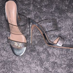 silver heels with clear strap